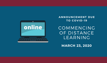 Distance learning lessons commence Monday, March 23rd 2020
