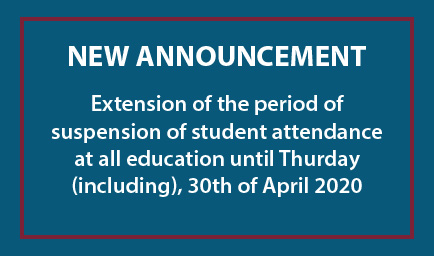 New extension of the period of suspension of student attendance until April 30th, 2020